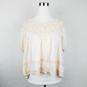 Free People Ivory Victorian Lace Tunic crochet top